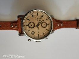 Fossil Reloj con pulsera de cuero coñac