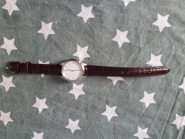 ascot Watch With Leather Strap bordeaux