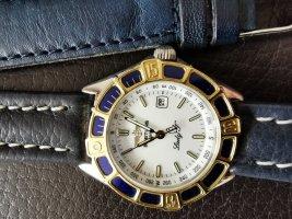 Breitling Orologio con cinturino di pelle argento-oro