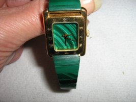 Digital Watch forest green-gold-colored