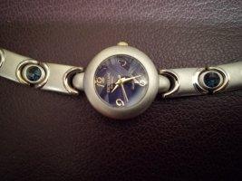 Armbanduhr mit edlem Band - silberfarben, goldfarben, saphirblaue Schmucksteine