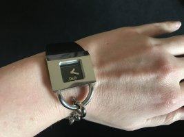 Armbanduhr von Dolce & Gabbana D&G schwarz Silber 925 Lederarmband Metallarmband