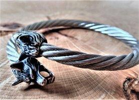 Bangle silver-colored-black metal