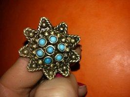 Armreif aus Indien- Handarbeit silber mit Türkis Steinchen und passender Ring
