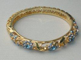 Armreif Emaille Steinbesatz blau gold Armspange Armreifen