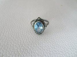 Art Deco Ring,mit Markasit,925 Silber,Aquamarinfarben, Ring