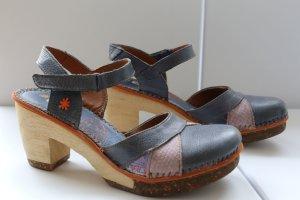 Art Escarpins à lanière bleu-orange cuir