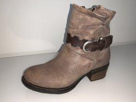 AS98 Zipper Booties light brown-dark brown