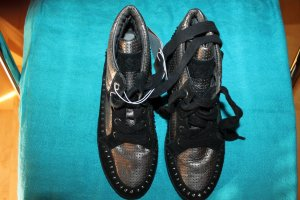 ASH Basket montante noir-argenté cuir