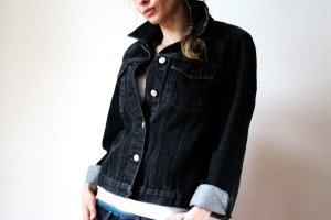 Ashley Brooke Denim Jacket black cotton