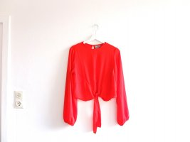 Asos Bluse Gr. 40 rot orange Bindebluse U-Bootausschnitt Transparent