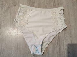 Asos Swim Damen High Waist Badehose Slip mit Spitze weiß Größe 40 NEU