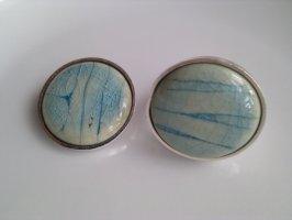 Auffälliger Ring und passender Anhänger aus Keramik mit versilberter Fassung - Türkis