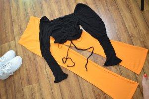 Auffälliges Cropped Langarmshirt schwarz gerafft 38 Fashion Nova