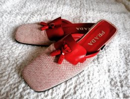 Ausgefallene Prada Mules Slipper Sabot Rot Leder Schuhe Pantoletten w. NEU gr  37 37,5