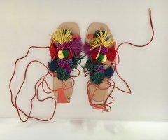 Zara Woman Sandalo con cinturino multicolore Pelle