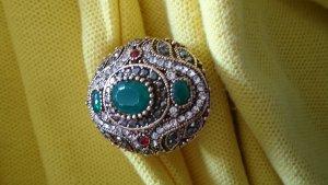 Ausgefallener Bronze Ring  Natursteine Jade und krystall Steinchen  Gr.19