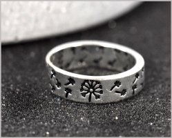 Silver Ring silver-colored-black metal