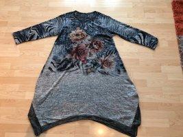 ausgefallenes Strickkleid Italy-Style in Grau mit Blumen neu