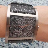 Jaques Lemans Montre avec bracelet en cuir argenté-gris foncé