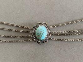 Außergewöhnliches Trachtenkropfband (Choker) mit Medaillon und türkisfarbenem Stein