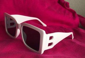 Hoekige zonnebril wit Acetaat