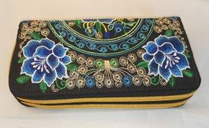 B1 2in1 Vintage Geldbeutel Börse Portemonnaie Etui Stickerei Embroidery Wallet Neu