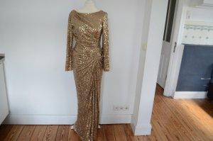 BADGLEY MISCHKA UVP 545,00 € Glamour Pailletten Abendkleid NEU! 38 gold