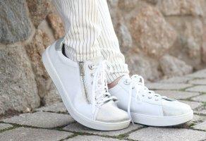 Bär Sneaker stringata bianco-argento Pelle