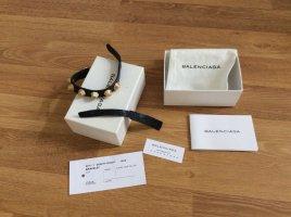 Balenciaga Bracelet en cuir gris anthracite-doré