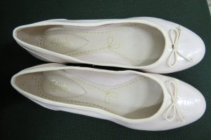 Clarks Patent Leather Ballerinas natural white