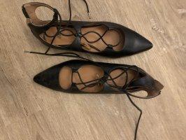 H&M Bailarinas con punta negro-coñac