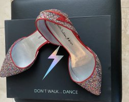 Miss Etam Ballerina's met kant rood-zilver