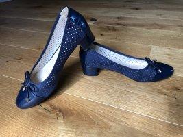 Clara Barson Ballerina di pelle verniciata blu scuro-oro
