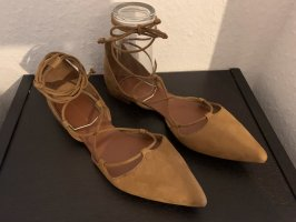 Zara Basic Strappy Ballerinas cognac-coloured