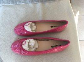Ballerette Bailarinas de charol con tacón rosa Cuero