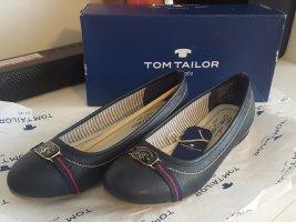 Tom Tailor Ballerina di pelle verniciata blu scuro
