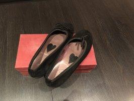 Woolline Peep Toe ballerina's zwart