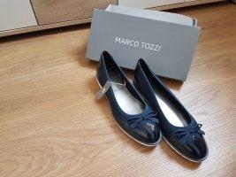 Marco Tozzi Ballerines en cuir verni bleu-bleu foncé