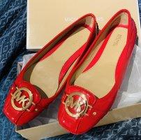 Michael Kors Lakierowane baleriny czerwony-złoto Skóra