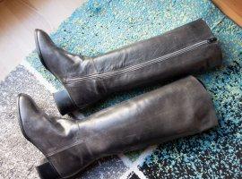 Bally Echtleder Leder hohe Stiefel Boots Designer anthrazit Gr. 37 Vintage NEU