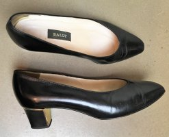 Bally Loafers black-gold-colored leather