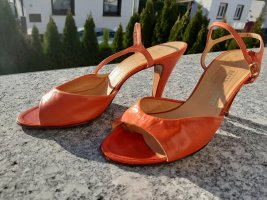 BALLY SUISSE Escarpins à bout ouvert orange-rouge cuir