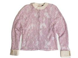 Balmain Blusa in merletto rosa chiaro Viscosa