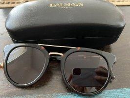 Balmain Owalne okulary przeciwsłoneczne czarno-brązowy-ciemnobrązowy
