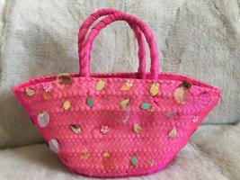 Bolso tipo cesta rosa