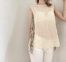 Barbara Becker Shirt Top Bluse Seide beige creme gold Fransen 36 S