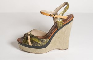 Barbara Bui Wedge Sandals cream-green grey leather