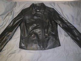 Barneys Originals Leather Jacket black-silver-colored leather