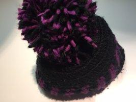 Barts mütze schwarz lila Damen mit Pommel one size gefliest